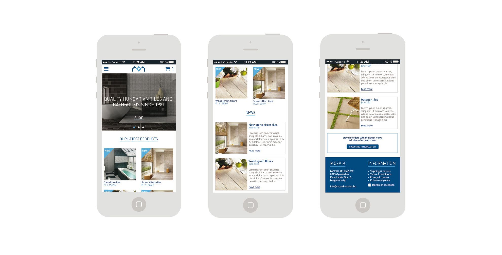 Website mobile pages